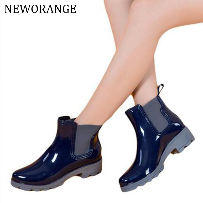 2017 Rain Boots Water Rubber Shoes For Women Fashion Elastic Band Slip On Martin Ankle Boots 35-41 Black/Red/Blue WBS193(China (Mainland))