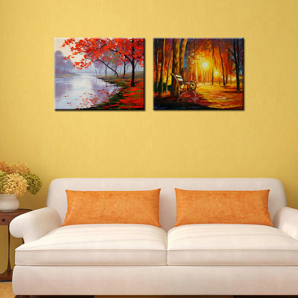Buy Large Abstract landscape decorative pictures canvas wall art printed artwork knife canvas oil famous artist deco paintings decor cheap