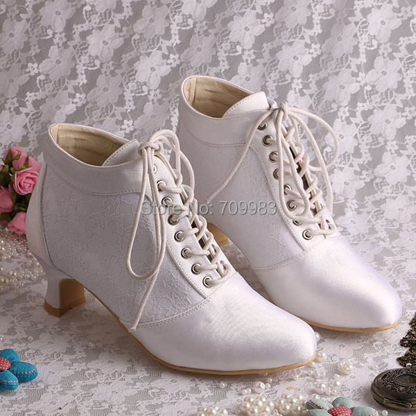 Best Selling Chunky Low Heel White Lace Bridal Wedding Boots Short Winter Lace-up FREE SHIPPING(China (Mainland))