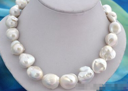 free shipping >>>>17 inch baroque white reborn keshi pearl necklace(China (Mainland))