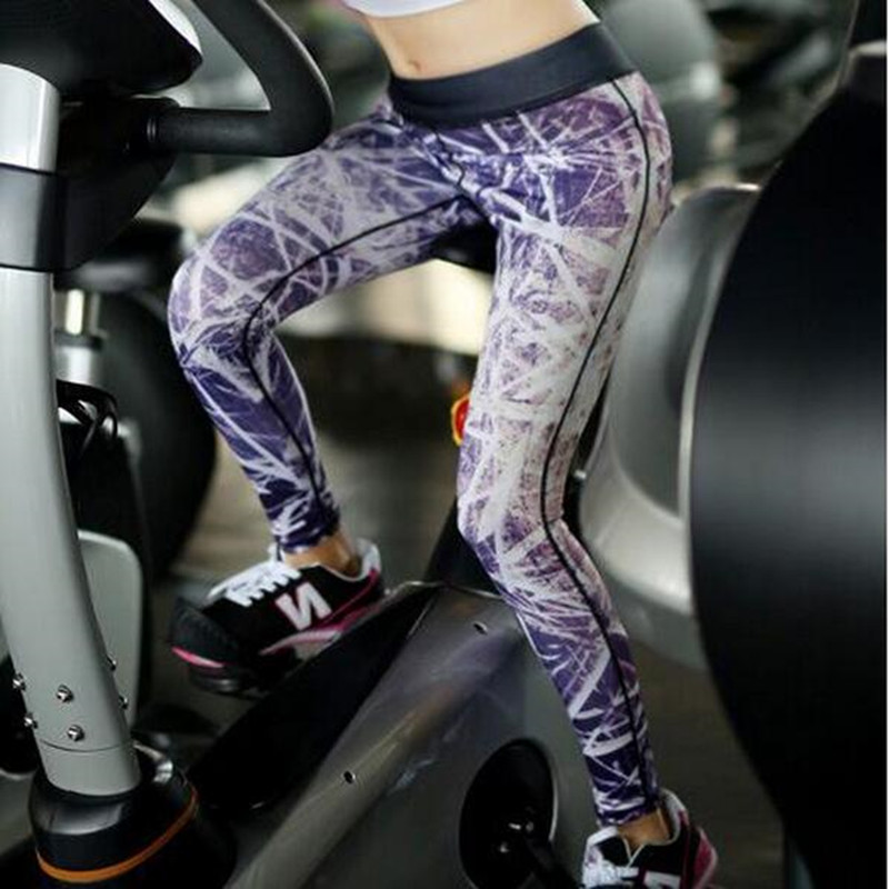 2016 Sexy Gym Women's Leggings Outdoor Fitness Trousers Printing Running Sports Pants Elasticity Jeggings sport Leggins(China (Mainland))