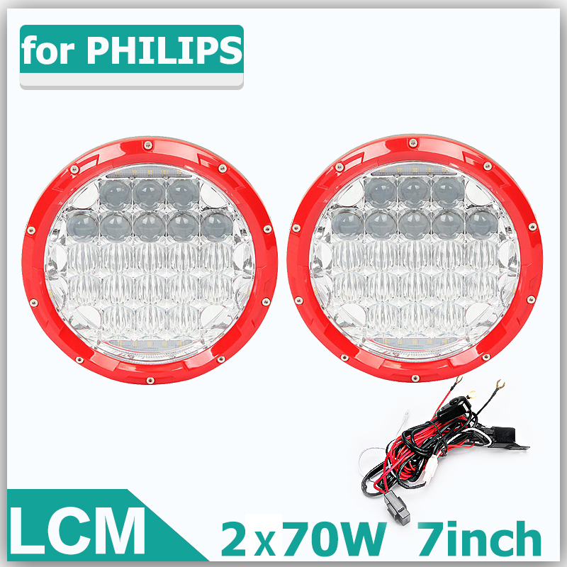 70W 7Inch H4 LED Round Light OffRoad Work Lights Driving Lamp Combo Beam 12v 24v Truck SUV Boat 4X4 4WD ATV LED Headlight. [LCM]