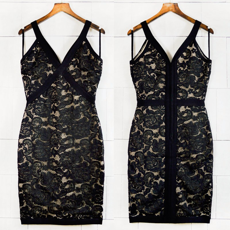 Top Quality Black Sexy Sleeveless Lace V-neck Rayon Bandage Dress Party Sexy Bodycon Dress