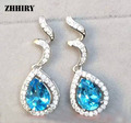 ZHHIRY Natural Blue Topaz Earring Genuine Solid 925 Sterling Silver Gem Earrings Women Stone Fine Jewelry