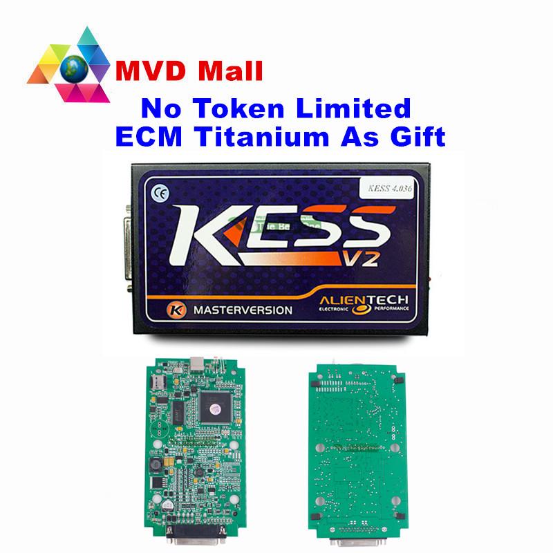 Newest KESS SW V2.23 FW V4.036 Kess V2 OBD2 Manager Tuning Kit NoToken Limit Kess 2 Master version Universal Car ECU Programmer(China (Mainland))