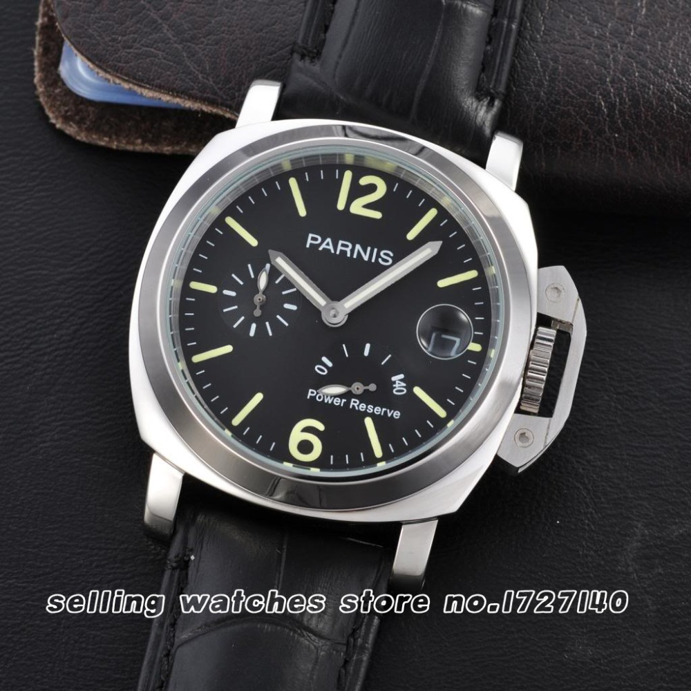 44mm Parnis Black Dial Power Reserve Automatic  Mens Watch  p007<br><br>Aliexpress