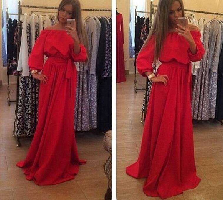 Женское платье Red Long Dress A-line Lantern Sleeve 2015 LYD0352 sexy halter push up solid color three piece swimwear for women