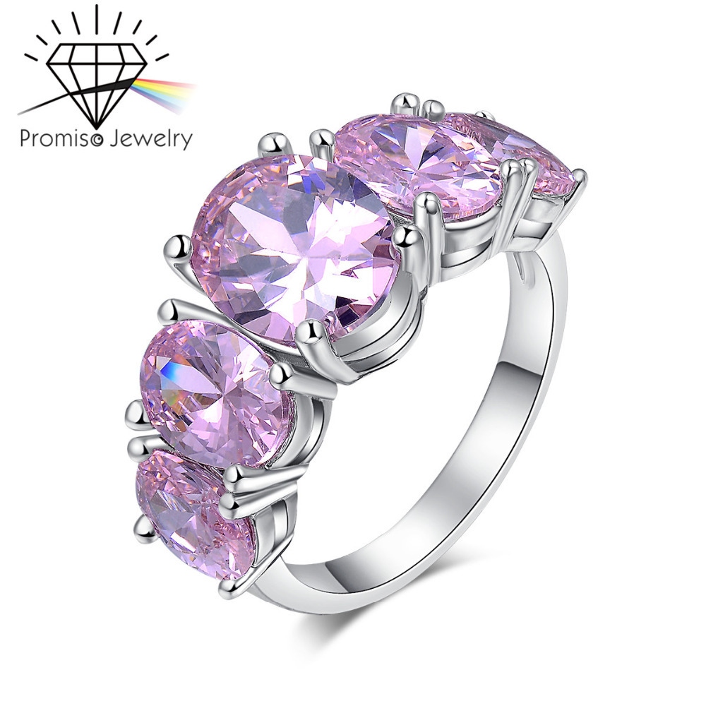 White Gold plated Filled Ruby Diamond Ring For Women Accessories fashion wedding Engagement Finger Romantic CZ