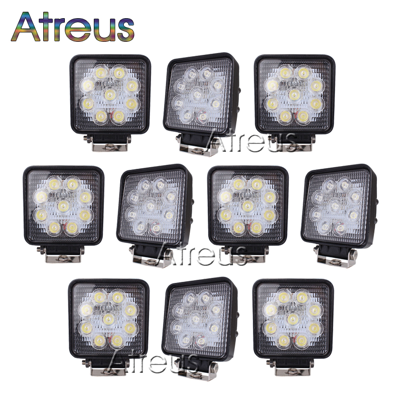 10Pcs 4 Inch 27W High-Power 9X 3W Square LED Work Light 12V Spot For 4x4 Offroad ATV Truck Tractor Motorcycle Driving Fog Lights(China (Mainland))