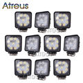 10Pcs 4 Inch 27W High Power 9X 3W Square LED Work Light 12V Spot For 4x4