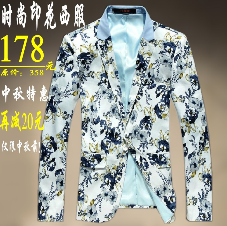 spring autumn mens suits elegant 2013 for jacket leisure plus size print flower white blazers clothing high fashion causal coatОдежда и ак�е��уары<br><br><br>Aliexpress