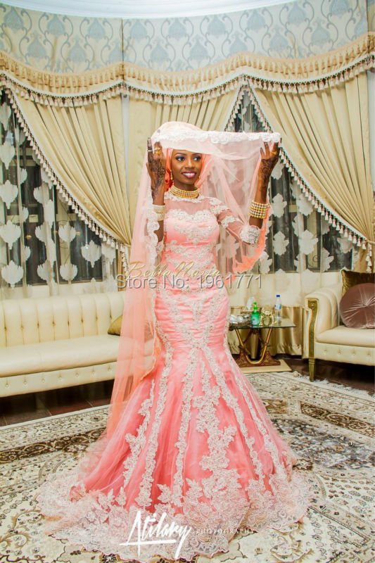 vestido de casamento African Wedding Gowns Mermaid High Neck Appliqued Lace Appliques Tulle Long Bling Bridal Dresses(China (Mainland))