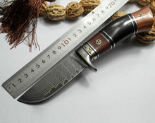 Buy Handmade forged Damascus steel hunting knife 58 HRC Damascus Steel fixed knife ebony handle Leather sheath army Survival knife for $57.39 in AliExpress store