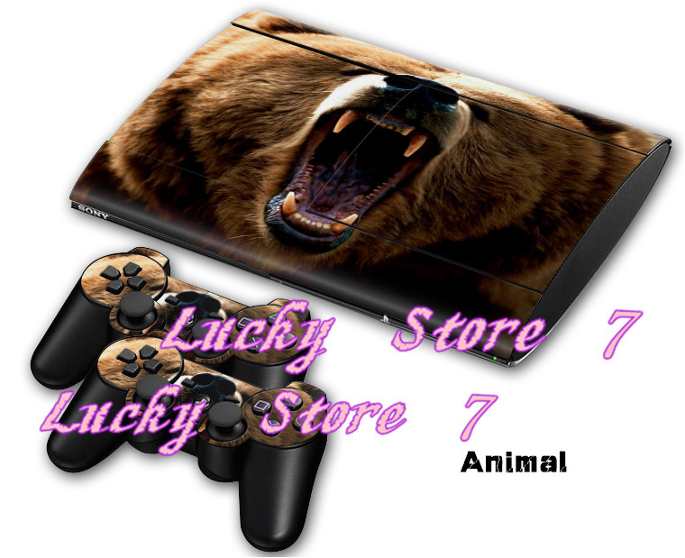 Animal ferocity Bear Decal Skin Sticker For PS3 superslim 4000 Console+2Pcs Stickers For PS3 Controller(China (Mainland))