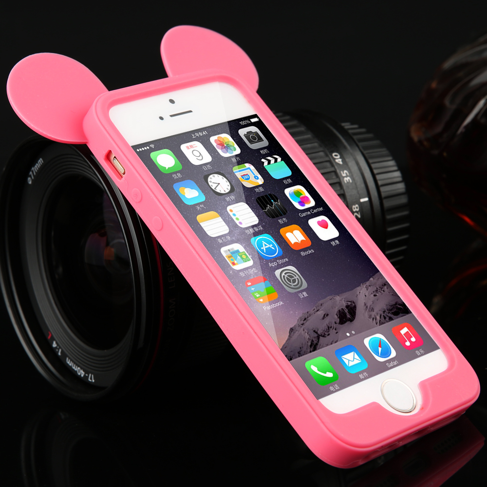 Free Hot New 3D lovely Four colors cartoon mouse ears model Fashion silicon frame bumper case for iPhone 4 4s Top Sales(China (Mainland))