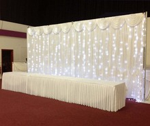 3m*6m Ice Silk Wedding Backdrop with Swag & Led Light