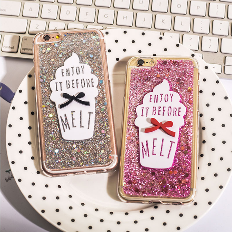 Enjoy it Before Melt ice Cream Glitter Powder Shining Bling Back Soft Shookproof Cover Case For iphone 5s 6s 6plus Coque Fundas(China (Mainland))