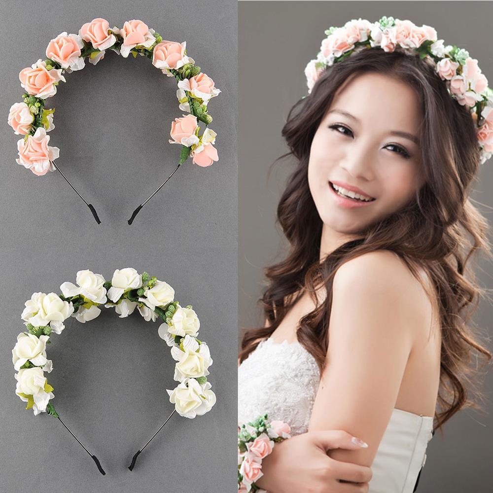 Stylish Women Girls Floral Headband Bohemia Hair Band Flower Garland Wedding Prom Head wrap Hair Accessories Gift Free Shipping(China (Mainland))