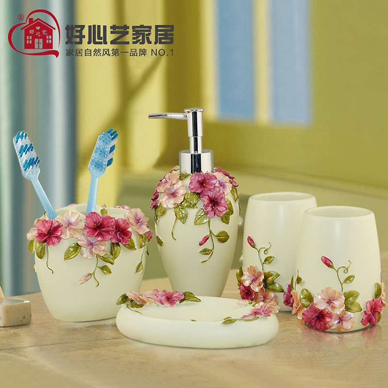 Hoshine high quality pansy flower bathroom accessories for Fancy bathroom accessories sets
