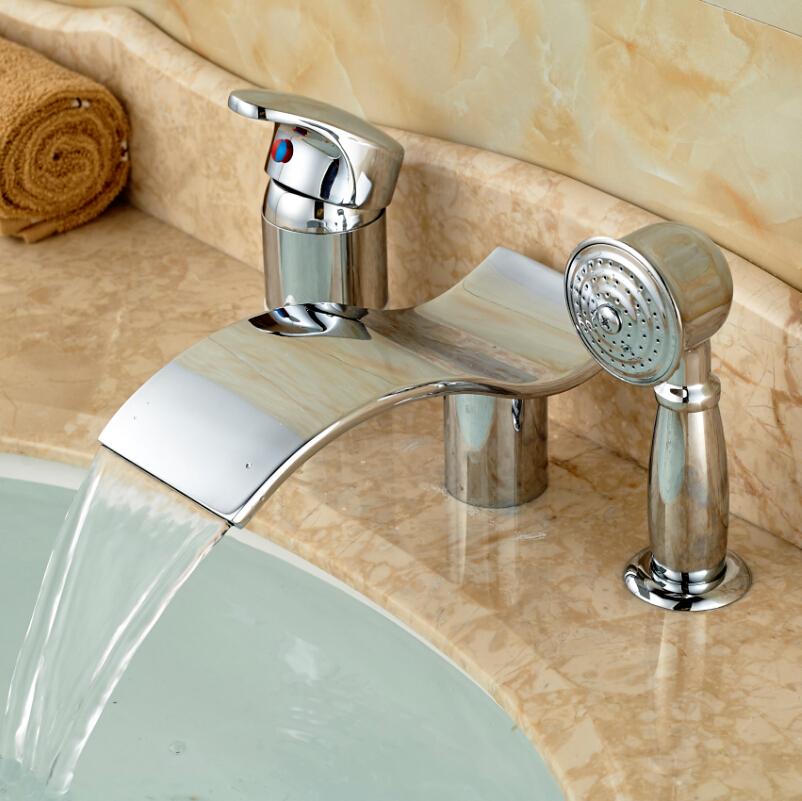 enkele hendel waterval 3 gaten bad mengkraan bad kraan met handdouche chroom(China (Mainland))