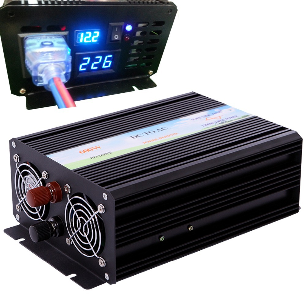 LED display high frequency 600w off grid DC to AC voltage converter pure sine wave solar power inverter home inverter 12v 220v(China (Mainland))