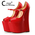Large Size 40 48 Platform Extreme High Heel Wedges Shoes Men Fetish High Heels Mary Jane