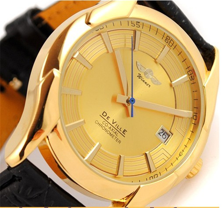 Гаджет  Men Mechanical Hand Wind Watch Golden Luxury Brand Watches Men Leather Strap Wristwatch Male Business Watches MN4489 None Часы