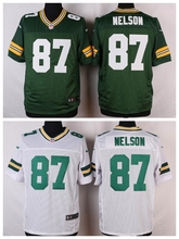 Green Bay Packers #87 Jordy Nelson Elite White and Green Team Color free shipping(China (Mainland))