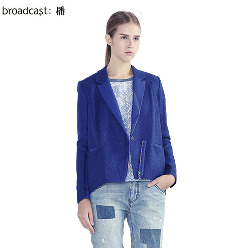 Free Shipping Broadcast spring new arrival fashion solid color zipper long-sleeve  formal design short outerwear BDH1WA0125