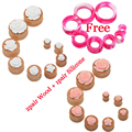 2pair Wood Flower Ear Piercing Tunnels Plugs Free 1pair Silicone Ear Skin Pierces Expansions Charm Earring