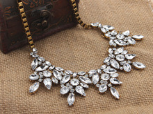 Europe Pop Hot High Quality Vintage Jewelry Flower Crystal Choker Necklace For Woman New 2014 Statement