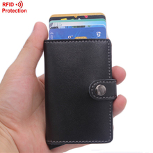 Antitheft Men Wallets Leather Slim Mini RFID Wallet Automatic Business Card Holder Aluminum Credit Card Case Protector(China (Mainland))