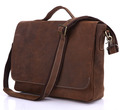 Nesitu High Quality Vintage Real Crazy Horse Leather Genuine Leather Men Messenger Bags 14 inch Laptop