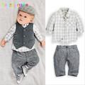 babzapleume Brand Boys Clothes Kids Outfit Gentleman Style Shirt Pant Vest 3pcs baby suit 0 2T