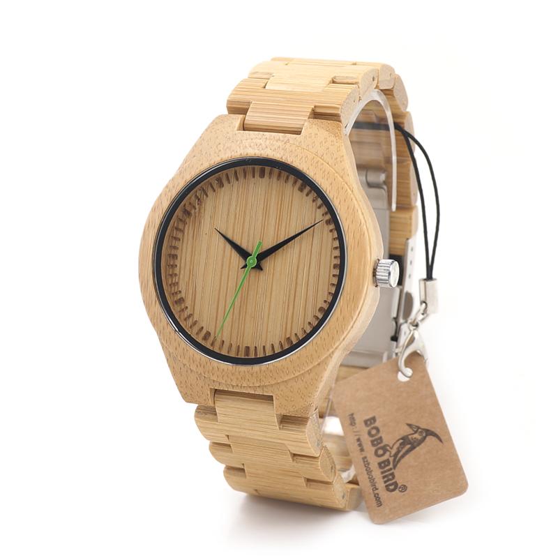 BOBO BIRD G26 Brand Design Mens Bamboo Watch Green Second Pointer Quartz Watches for Men Women as Best Gift Wood Gift Box(China (Mainland))