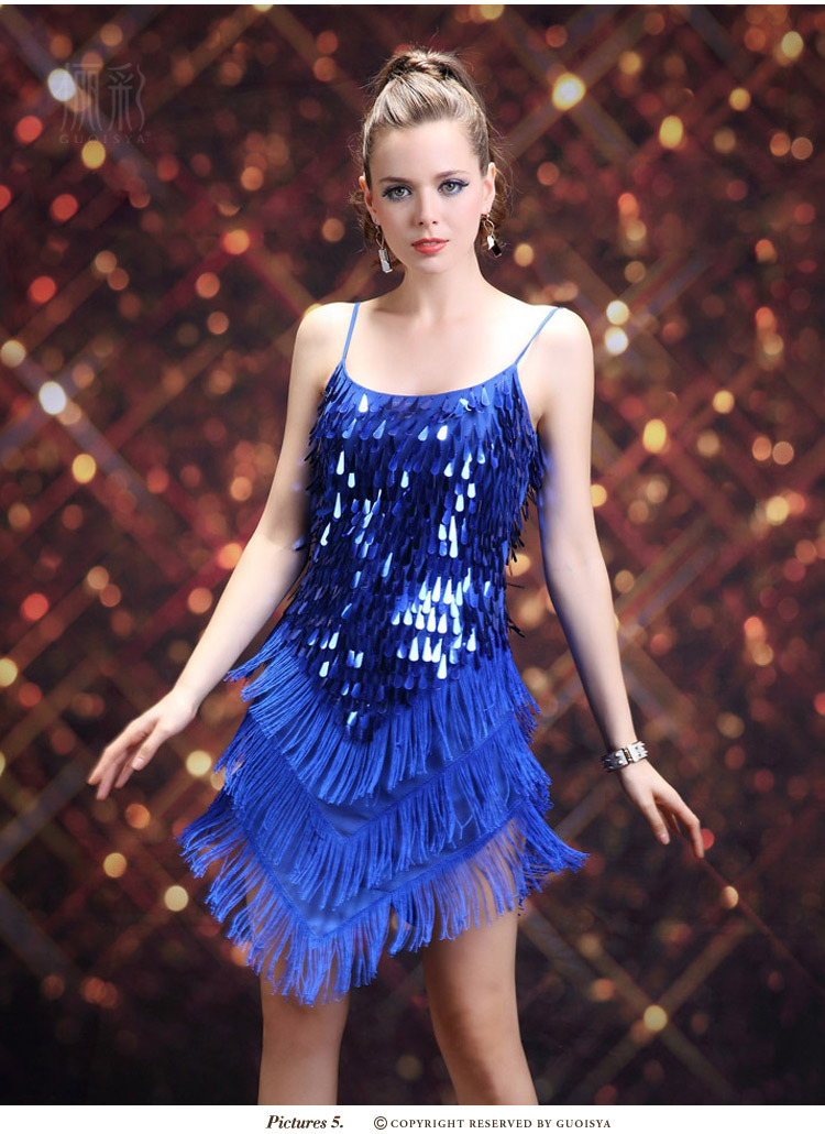 Spring top fasion empire 2015 new sexy Tape sequins tassel stage loaded adult Latin dance hot night stage costume(China (Mainland))