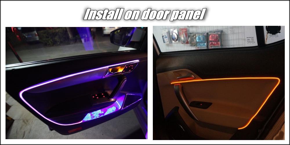 Car Interior Ambient Light 1 Meter long Universal Fit Decoration Strip For Car Door Roof Dashboard Optical Fiber Light 9-3