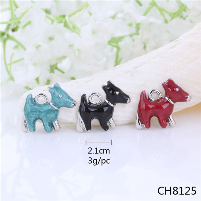 SALE! Dainty Vintage Silver Dog Clip Charm - Enamel Scottie Dog,3 Colors Choice Cheap Charms,Pendants for Nacklaces,Earrings(China (Mainland))