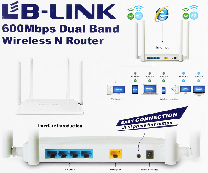 BL-WDR4600 Dual Band 2.4G / 5G 600Mbps Wireless Router with 4 LAN PortsDurable Stable Router with External detachable antennas(China (Mainland))