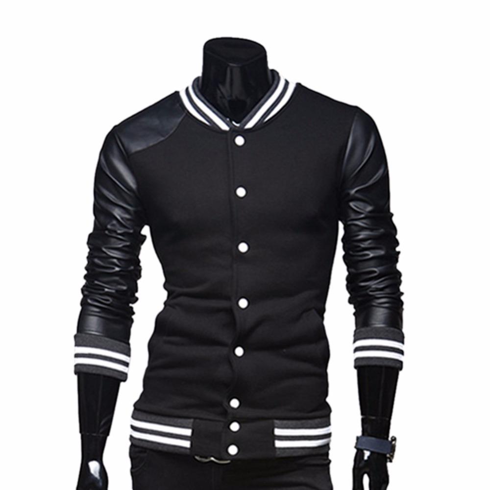 Men's Cotton Casual College School Varsity Baseball Fleece Jersey Jacket With Pockets Hoodie Coat(China (Mainland))