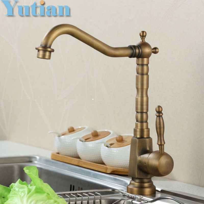 Free shipping Kitchen Faucet Antique Brass Swivel Bathroom