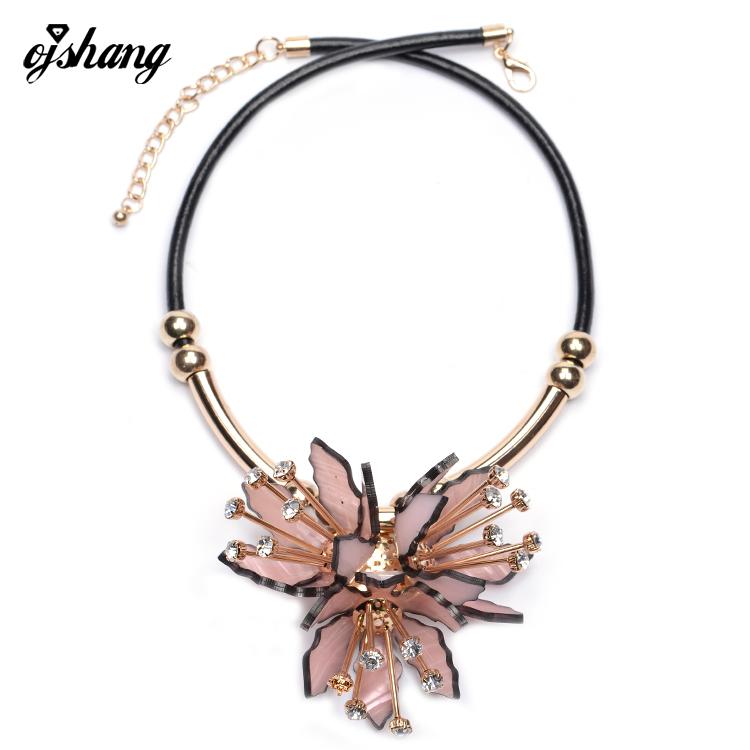 Fashion Flower ZA Necklaces Pendants Women 2016Crystal Choker Jewelry Collares Collier Femme Bib Boho Chocker Maxi