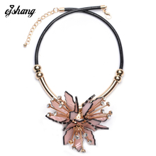 Fashion Flower ZA Necklaces Pendants Women 2016Crystal Choker Jewelry Collares Collier Femme Bib Boho Chocker Maxi Acrylic Resin