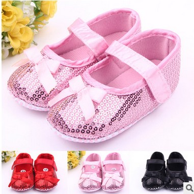 2016 adorable baby first walker font b shoes b font princess glittering soft pink single girls