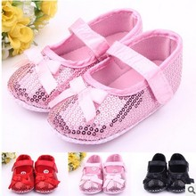 2016 adorable baby first walker shoes princess glittering soft pink single girls tennis shoe knot moccasins baby toddler shoes