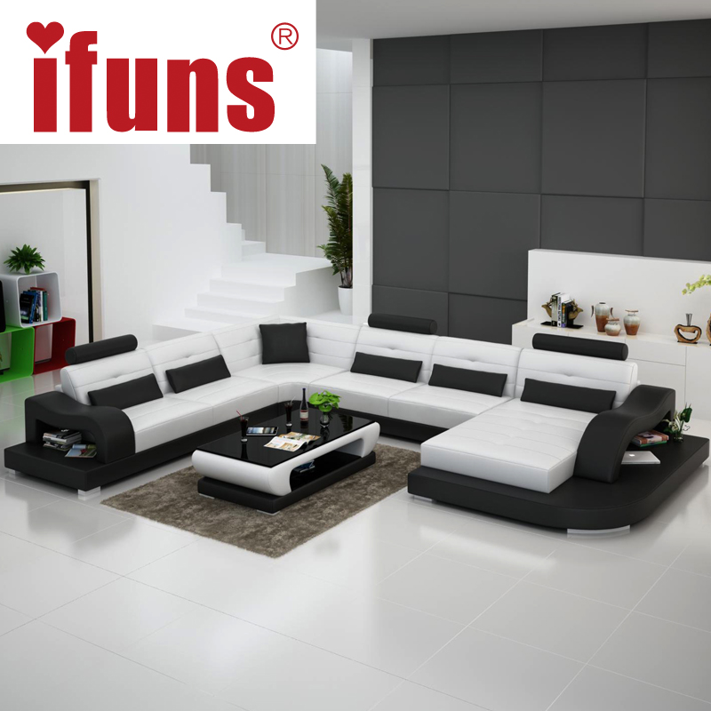 IFUNS white genuine leather luxury sofa sets u shaped cow leather sectional sofa set living room furniture big house (fr)(China (Mainland))