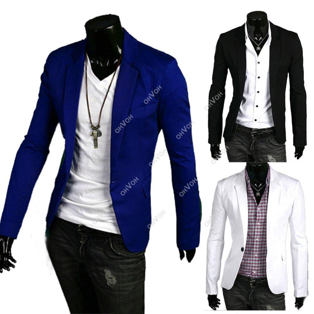new stylish men casual slim fit one button suit blazer