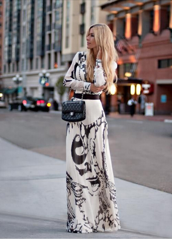 2016 explosion models spring women's fashion slim long-sleeved dress printed high waist dress party dresses Z022