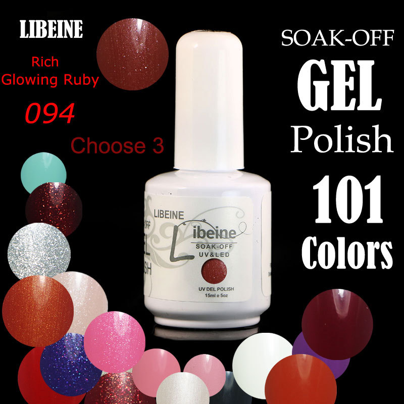 Hot Sale Libeine 162 Colors Choose (Any 3 Colors)*15ml Nail Art Soak Off Gel Nail Polish #094 Rich Glowing Ruby Customizable(China (Mainland))