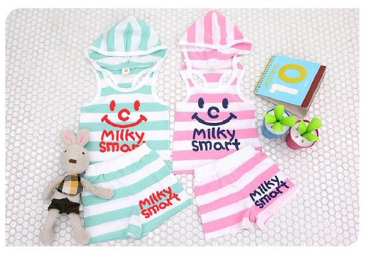 2013 Summer Kids Striped Hooded clothes suits Baby Casual set Smiling face Girls Letter sleeveless wear suit - Ashley's Retail Store store